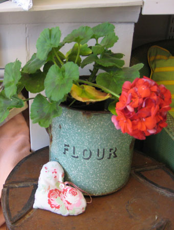 Old flour bin as plant holder