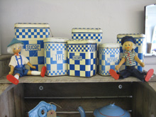 Set of French storage tins